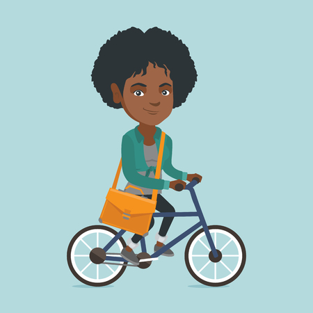 Young african-american business woman with a briefcase riding a bicycle.  イラスト・ベクター素材