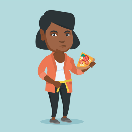 Fat african-american woman holding a slice of pizza and measuring a waistline with a centimeter tape. 向量圖像