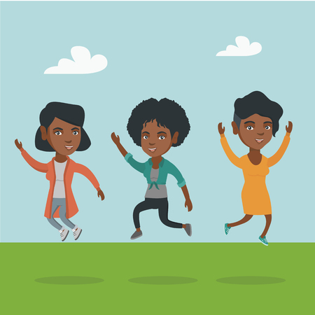 Group of young african-american friends jumping in the park. Group of cheerful friends having fun and jumping outdoors. Friendship and lifestyle concept. Vector cartoon illustration. Square layout.