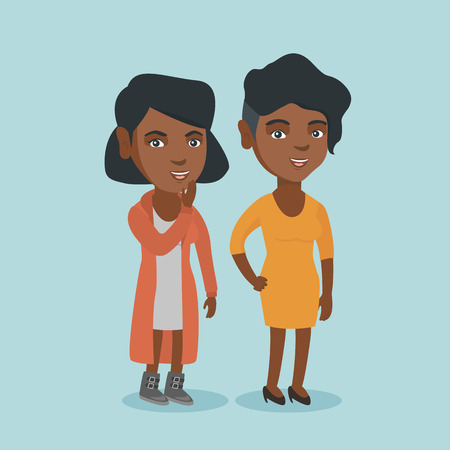 Young african-american woman shielding her mouth and whispering a gossip to her friend. Two happy women sharing gossips. Smiling friends discussing gossips. Vector cartoon illustration. Square layout.