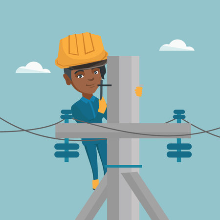 Young african-american electrician in hard hat working on electric power pole. Female electrician repairing an electric power pole. Vector cartoon illustration. Square layout.