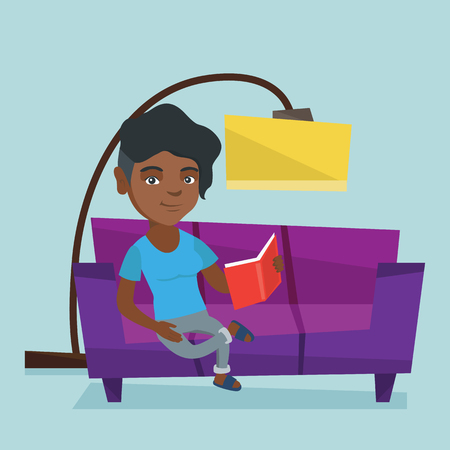 African-american woman relaxing with a book on the couch at home. Smiling woman reading a book on a sofa. Young woman sitting on a sofa and reading a book. Vector cartoon illustration. Square layout. Illustration