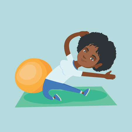 African woman exercising in the gym. Woman doing stretching on the exercise mat. Sportswoman stretching before training. Woman doing stretching exercises. Vector cartoon illustration. Square layout. Illustration