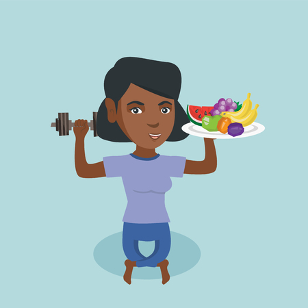 Young african-american woman holding healthy fruits and a dumbbell in hands. Woman choosing healthy lifestyle. Healthy lifestyle concept. Vector cartoon illustration. Square layout.