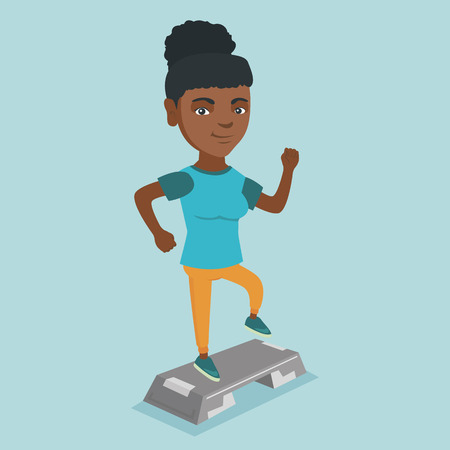 African-american sportswoman training with a stepper in the gym. Young sportswoman doing step exercises. Woman working out with a stepper in the gym. Vector cartoon illustration. Square layout.