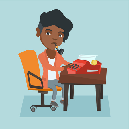 Young african-american journalist writing an article on a vintage typewriter and smoking a pipe. Concentrated journalist working on a retro typewriter. Vector cartoon illustration. Square layout.