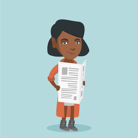 Young african-american business woman reading good news in a newspaper. Full length of smiling woman standing with a newspaper in hands. Vector cartoon illustration. Square layout. Illustration