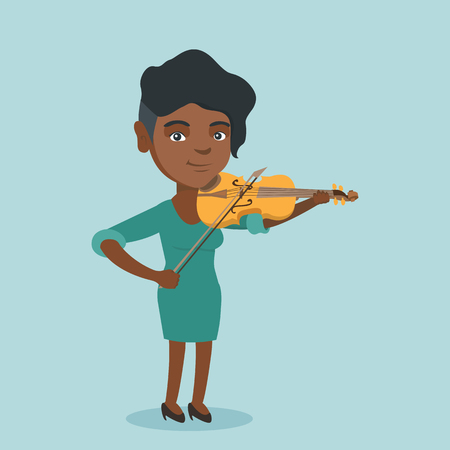 Young african-american musician playing the violin. Full length of a female smiling violinist standing with the violin and a fiddlestick in hands. Ilustrace