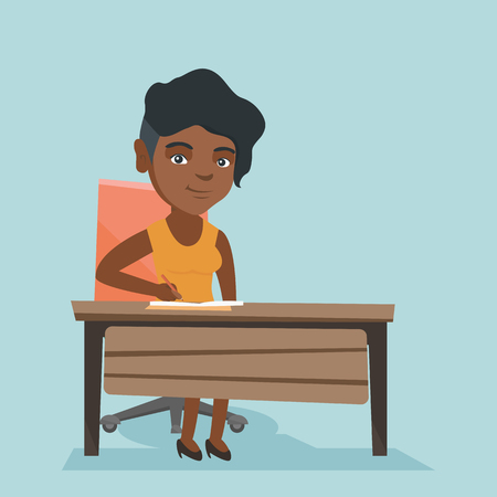 Young african-american journalist sitting at the table and writing notes in a notebook. Journalist writing an article. Business woman working in the office. Vector cartoon illustration. Square layout.