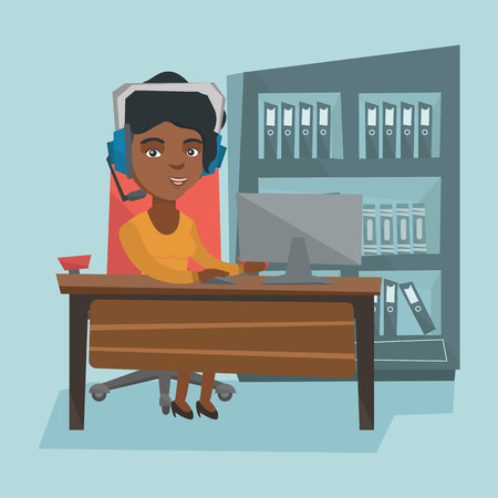 Young african business woman in headset during video conference in the office.