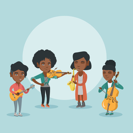 Band of african musicians playing the musical instruments. Group of young musicians playing the musical instruments. Musicians performing with instruments. Vector cartoon illustration. Square layout