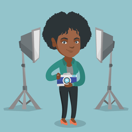 Young african-american photographer holding a camera in photo studio. Photographer using a professional camera in photo studio. Photographer taking a photo. Vector cartoon illustration. Square layout.