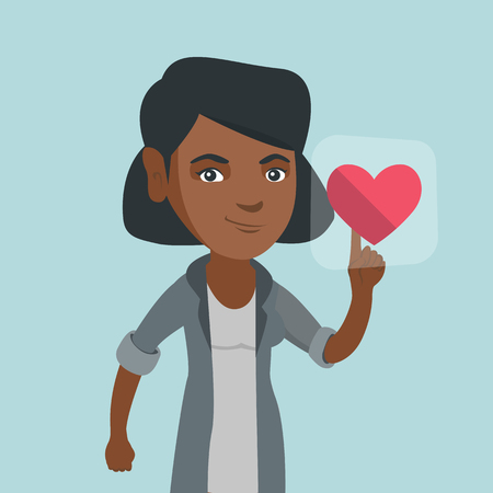 Young african-american woman pressing heart shaped button of social network. Woman pressing button with heart. Concept of social network and communication. Vector cartoon illustration. Square layout.
