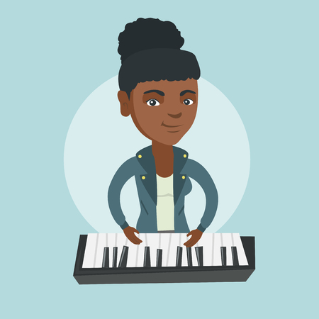 Young African-american musician playing the piano. Smiling pianist playing the upright piano. Female pianist playing the synthesizer.