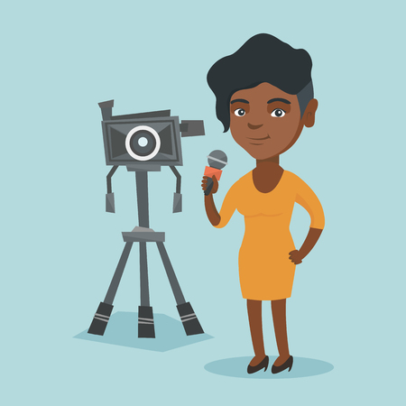 African-american reporter with a microphone standing on the background of camera. Young TV reporter presenting the news. TV transmission with a reporter. Vector cartoon illustration. Square layout. Vectores