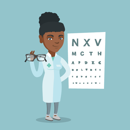 African Ophthalmologist holding eyeglasses on the background of eye chart. Vector cartoon illustration. Square layout. Illustration