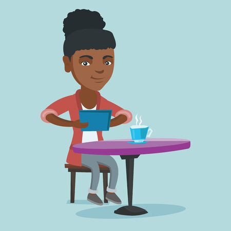 Young african woman using a tablet computer in the cafe and surfing in the social network. Woman rewriting in the social network. Social network concept. Vector cartoon illustration. Square layout.