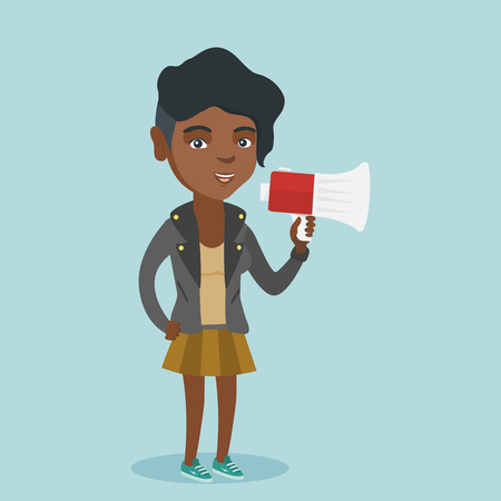 African woman promoter holding loudspeaker. Business woman speaking into loudspeaker. Woman advertising using a megaphone. Social media marketing concept. Vector cartoon illustration. Square layout. Illustration