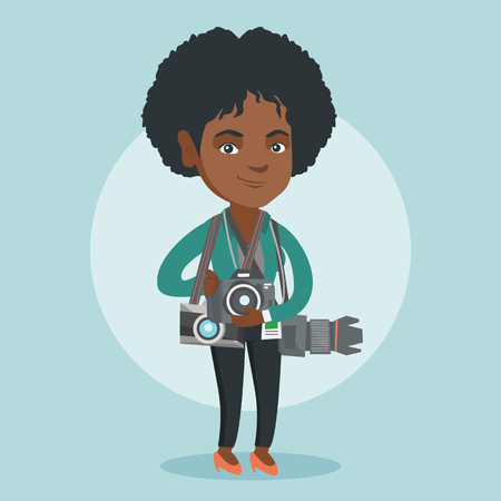 Young african-american photographer standing with many photo cameras equipment. Full length of a professional photojournalist with a lot of photo cameras. Vector cartoon illustration. Square layout.