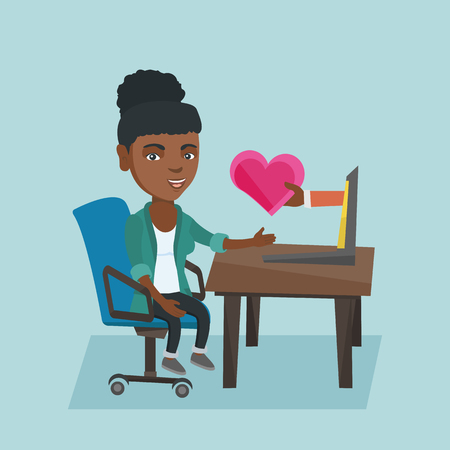 African-american woman looking for online date on the internet. Young woman using a laptop for online dating and getting a virtual love message. Vector cartoon illustration. Square layout. Illusztráció