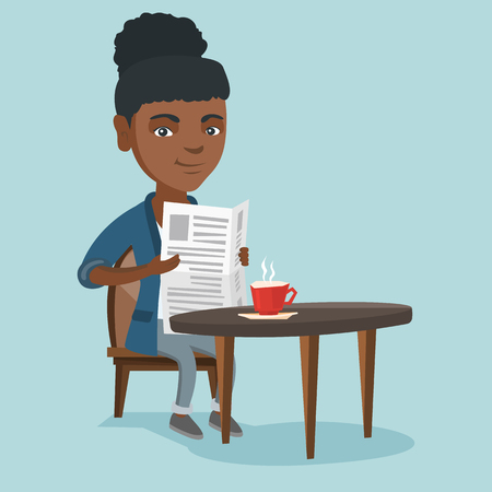 African-american woman reading news in a newspaper in the cafe. Young woman sitting at the cafe table with a newspaper in hands and drinking coffee. Vector cartoon illustration. Square layout.