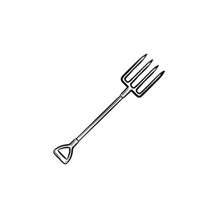 Vector hand drawn Pitchfork outline doodle icon. Pitchfork sketch illustration for print, web, mobile and info graphics isolated on white background.
