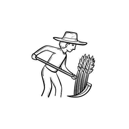 Vector hand drawn Man mowing grass with scythe outline doodle icon. Man mowing grass sketch illustration for print, web, mobile and info graphics isolated on white background. Illustration