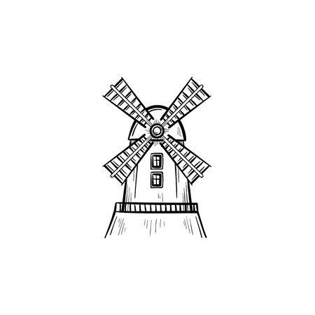 Vector hand drawn Windmill outline doodle icon. Windmill sketch illustration for print, web, mobile and infographics isolated on white background.