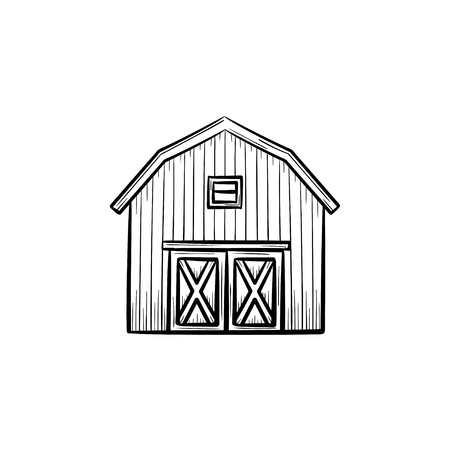 Vector hand drawn Farm barn outline doodle icon. Farm barn sketch illustration for print, web, mobile and infographics isolated on white background. Illusztráció