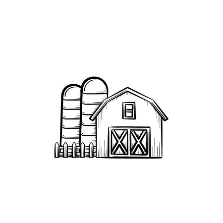 Vector hand drawn Farm shed outline doodle icon. Farm shed sketch illustration for print, web, mobile and infographics isolated on white background. Illusztráció