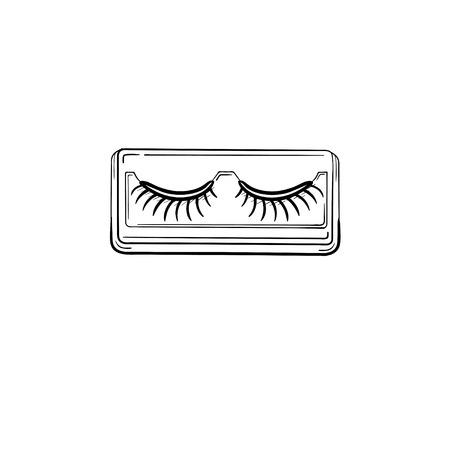 Vector hand drawn False eyelashes outline doodle icon. False eyelashes sketch illustration for print, web, mobile and infographics isolated on white background.