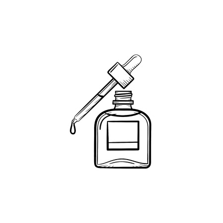 Vector hand getrokken fles etherische olie en pipet overzicht doodle pictogram. Etherische olie en pipet schets illustratie voor print, web, mobiel en infographics geïsoleerd op een witte achtergrond.