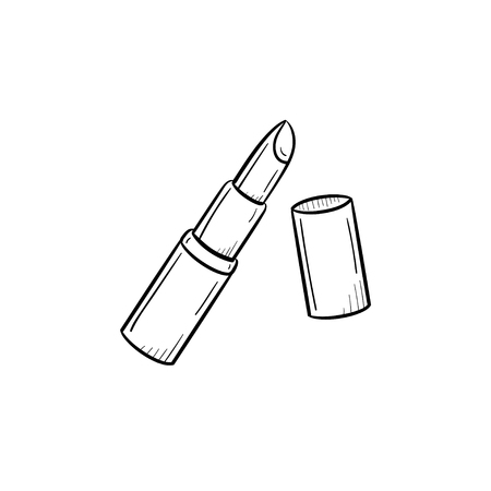 Vector hand drawn Lipstick outline doodle icon. Lipstick sketch illustration for print, web, mobile and infographics isolated on white background.