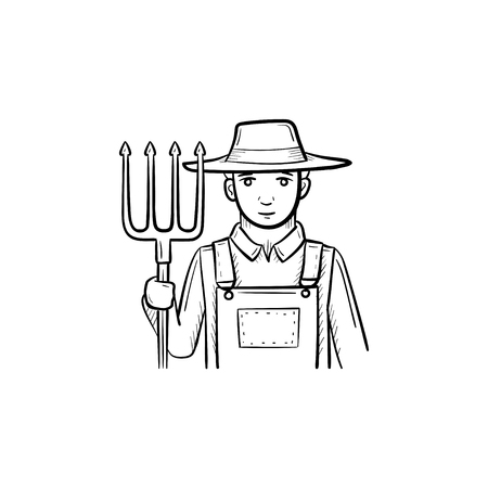 Vector hand drawn Farmer with pitchfork outline doodle icon. Farmer with pitchfork sketch illustration for print, web, mobile and infographics isolated on white background.