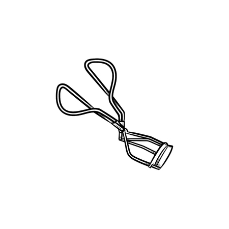 Vector hand drawn Eyelash curler outline doodle icon. Eyelash curler sketch illustration for print, web, mobile and infographics isolated on white background.