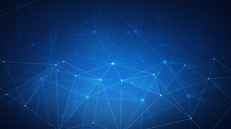 Blockchain technology futuristic hud background with blockchain polygon peer to peer network. Global cryptocurrency blockchain business banner concept.