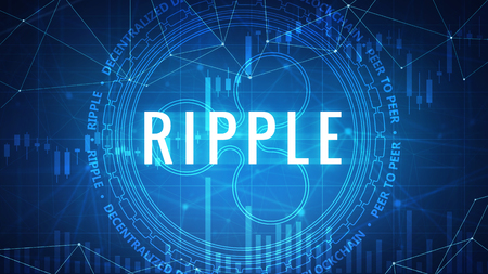 Ripple symbol on futuristic hud background with cryptocurrency stock market chart and blockchain polygon peer to peer network. Global cryptocurrency business banner concept. Zdjęcie Seryjne