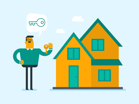 Happy caucasian white homeowner showing key to a new house. Young smiling real estate agent with key standing on the background of house. Vector cartoon illustration. Illustration