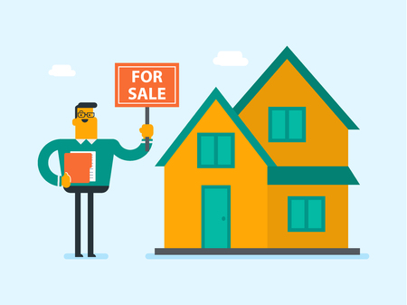 Young caucasian white broker offering the house for sale. Broker with placard for sale and documents in hands standing on the background of house for sale. Vector cartoon illustration. Square layout. Illustration