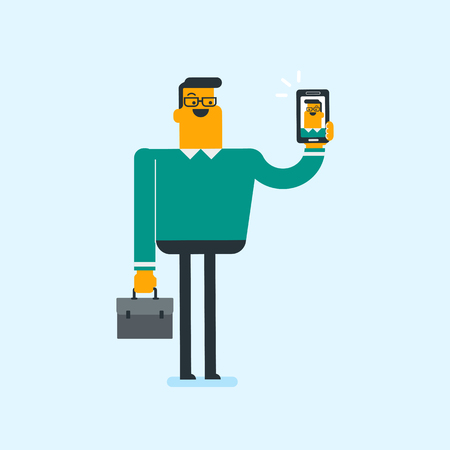 Young caucasian white smiling man holding briefcase and ringing mobile phone in hands. Full length of cheerful businessman showing a ringing cellphone. Vector cartoon illustration. Square layout.  イラスト・ベクター素材