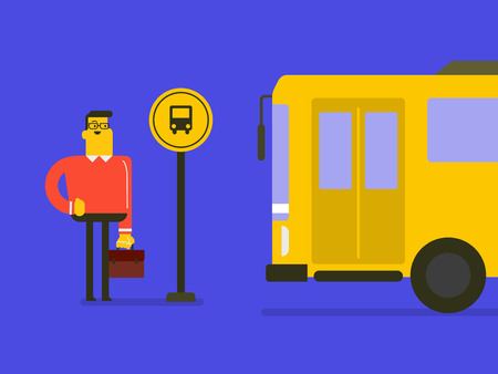 Caucasian white businessman with a briefcase waiting for a bus at the bus stop. Young man is glad to the bus approaching the bus stop. Vector cartoon illustration.