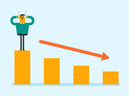 Young frightened caucasian white bankrupt businessman clutching head while standing on the chart going down. Concept of business bankruptcy and insolvency. Vector cartoon illustration. Illustration