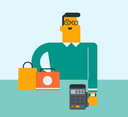 Young caucasian white man paying wireless with his smart watch at the checkout counter in shop. Customer making payment for a purchases with a smart watch. Vector cartoon illustration. Square layout.