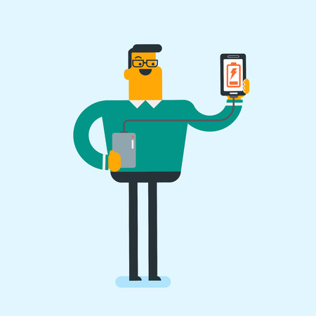 Young Caucasian white man recharging his smartphone with a mobile phone portable battery. Smiling man holding a mobile phone and a battery power bank. Vector cartoon illustration. Square layout. Illustration