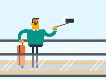 Young Caucasian white smiling businessman with a suitcase standing on escalator at the airport and taking selfie photo with a selfie-stick and smartphone. Vector cartoon illustration.