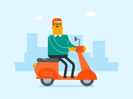 Young Caucasian white man riding a scooter outdoor. Smiling businessman traveling on a scooter on a city background. Man enjoying his trip on a motorcycle. Vector cartoon illustration. Vectores