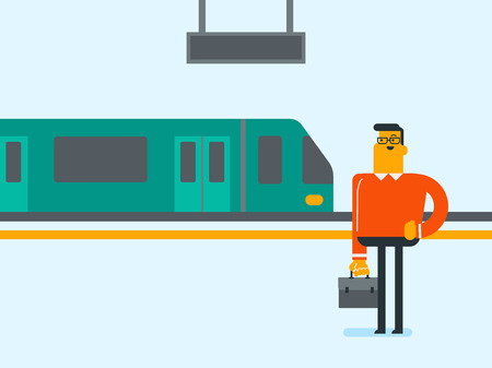 Young caucasian white businessman with briefcase standing on railway station platform on the background of train. Businessman using subway to get to work. Vector cartoon illustration.