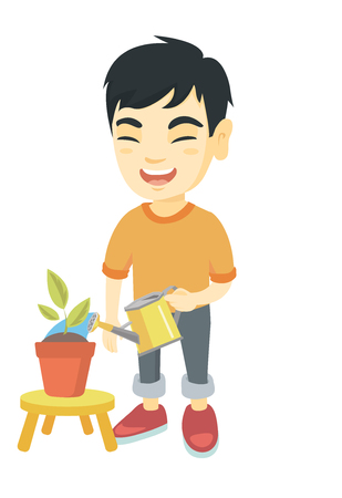Asian boy watering plant with a watering can. Little laughing boy watering a flower growing in a pot. Vector sketch cartoon illustration isolated on white background.