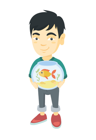 Asian boy  holding aquarium with goldfish. Full length of smiling little boy holding bowl with pet fish. Vector sketch cartoon illustration isolated on white background. Illustration