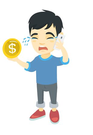 Asian boy businessman talking on smartphone and holding gold coin in hand. Little boy businessman with smartphone and golden coin. Vector sketch cartoon illustration isolated on white background. Illustration